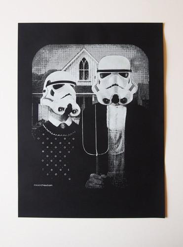 Star Wars American Gothic parody poster, Star Wars print- Worldwide