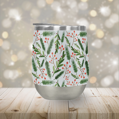 Stainless Steel Christmas Branch Stemless Wine Tumbler