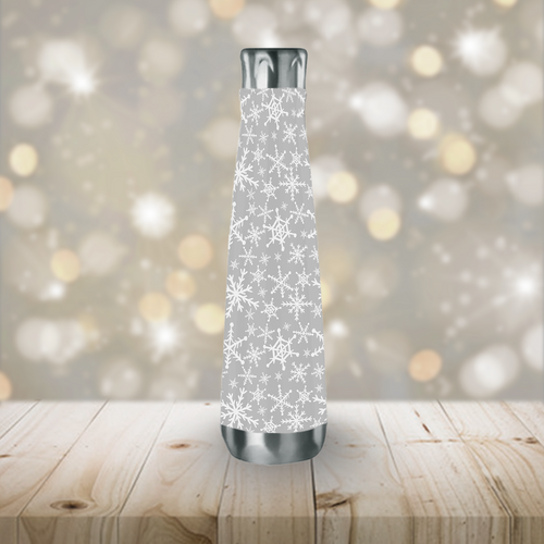 Stainless Steel Gray Snowflakes Peristyle Water Bottle
