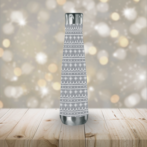 Gray Stainless Steel Snowflake Pattern Peristyle Water Bottle