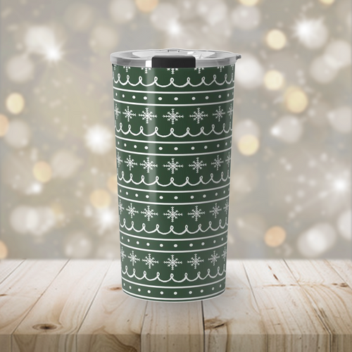 Green Stainless Steel Snowflake Pattern Travel Coffee Mug
