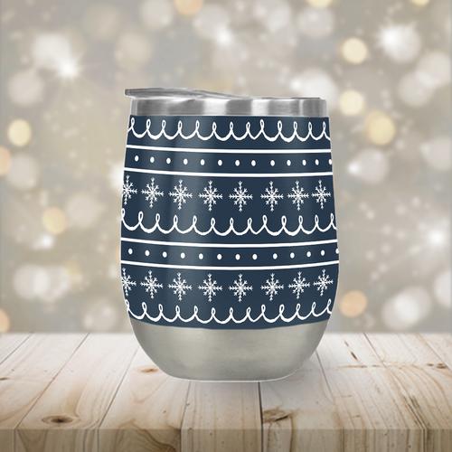 Blue Snowflake Pattern Stemless Wine Tumbler