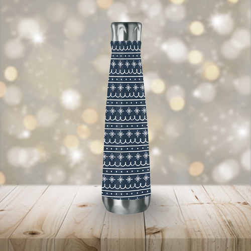 Blue Snowflake Pattern Peristyle Water Bottle