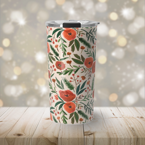 Christmas Floral Travel Coffee Mug