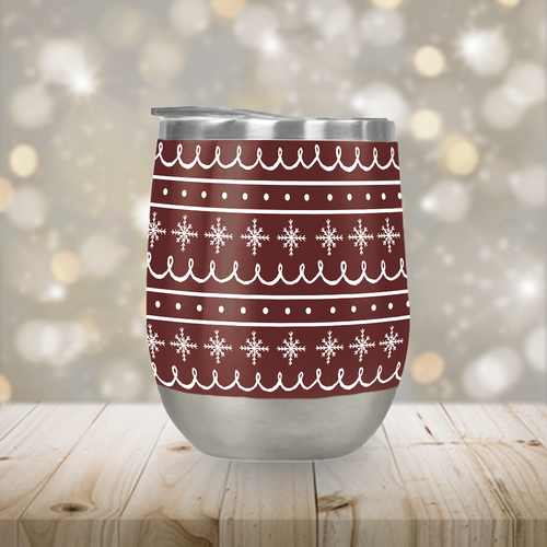 Red Snowflake Pattern Stemless Wine Tumbler