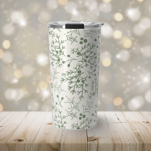 Green Christmas Branch Travel Coffee Mug