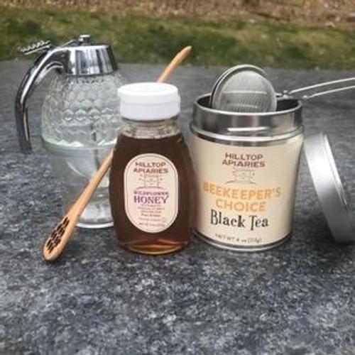 Honey, glass dispenser & wooden dipper Celebration Gift Set
