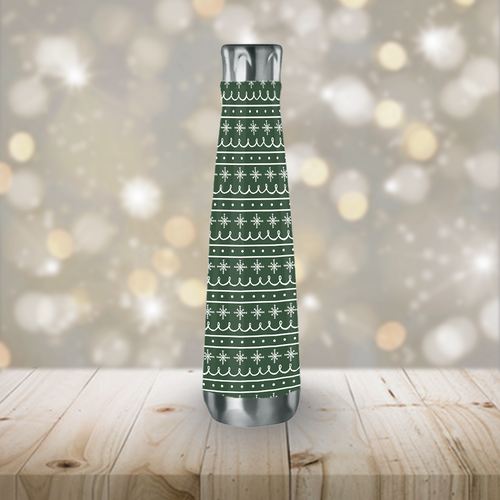 Green Snowflake Pattern Peristyle Water Bottle