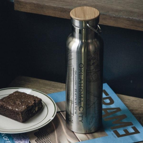 Oklahoma City - Oklahoma Map Insulated Bottle with Bamboo Top