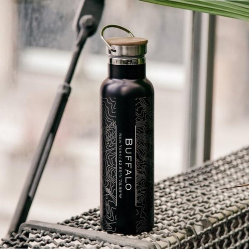 Buffalo - New York Map Insulated Bottle with Bamboo Top in Matte Black