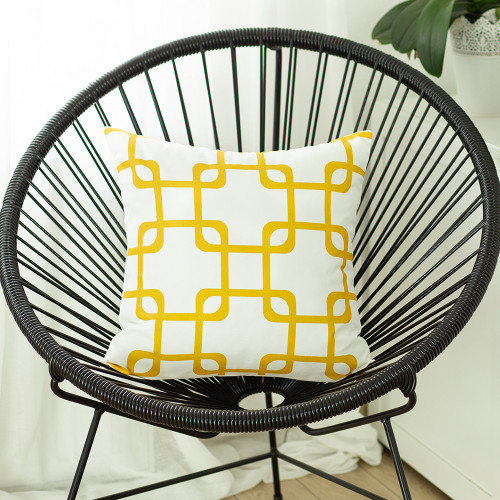 "Beautiful Geometric Yellow Square 18"" Throw Pillow Cover"