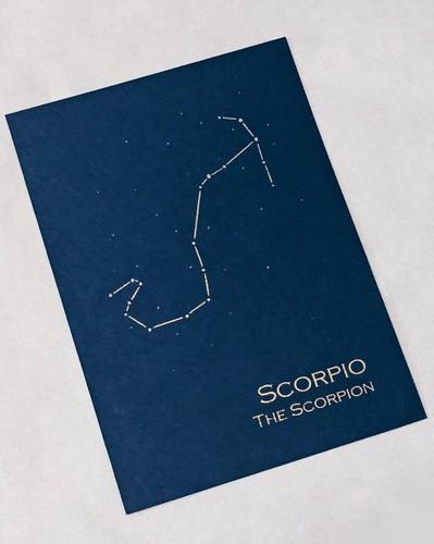 Navy Blue Scorpio Constellation Zodiac Art Print