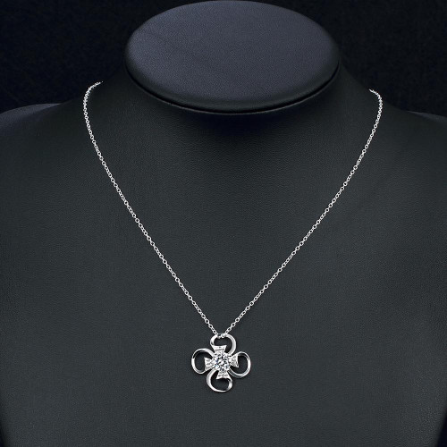 Angers Necklace in 18K White Gold Plated made with Swarovski Crystals