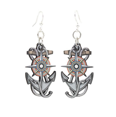 """0.8"""" x 1.4"""" Anchor and Compass Rose Earrings"""