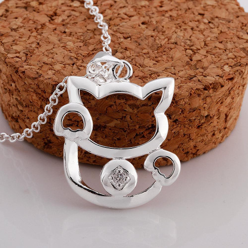 Hello my Kitty Necklace in 18K White Gold Plated with Swarovski