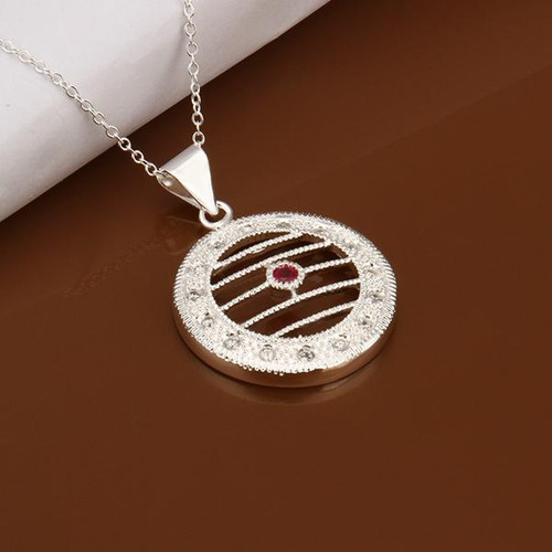 Ava Necklace in 18K White Gold Plated with Swarovski Crystals
