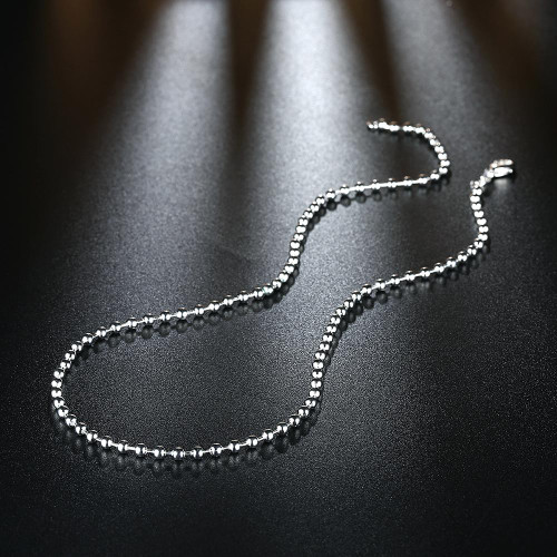 3mm Bead Chain Necklace in 18K White Gold Plated