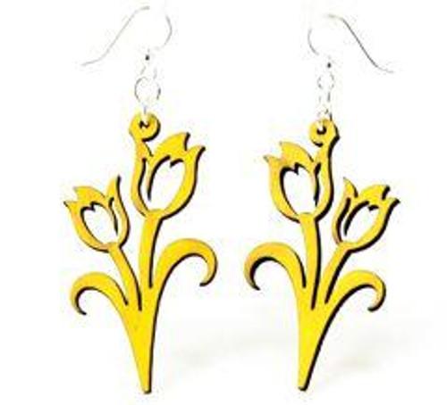 """1.9"""" x 1"""" Designed Lemon Yellow Tulip Earrings"""
