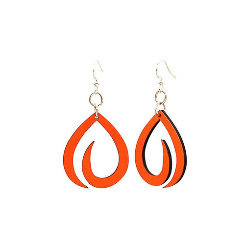 "1.9"" x 0.8"" Designed Orange Swoosh Earrings"