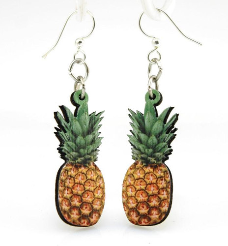 "1.4"" x 0.70"" Designed Yellow & Green Pineapple Earrings"