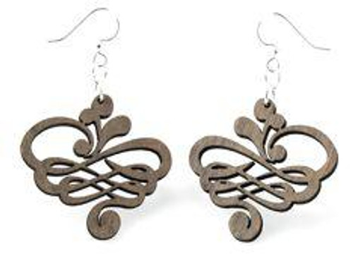 """1.3"""" x 1.3"""" Designed Small Calligraphy Earrings"""