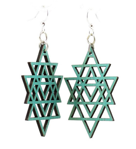 "1.2"" x  1.8"" Designed & Unique Green Triangled Earrings"
