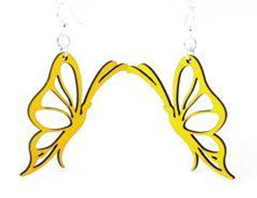 "Beautiful &  Designed Yellow Butterfly Earrings ( 2.4"" x 1.1"" )"