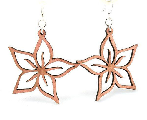 "Wooden Designed & Beautiful Plumeria Earrings (1.8"" x 1.8"")"