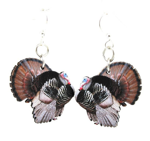 "Designed, Beautiful & Lightweight Wild Turkey Earrings (1.1"" x 1.0"")"