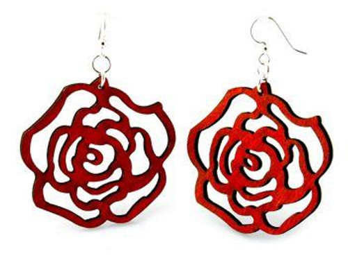 "Designed, Beautiful & Attractive Red Round Rose Earrings (1.7"" x 1.7"")"