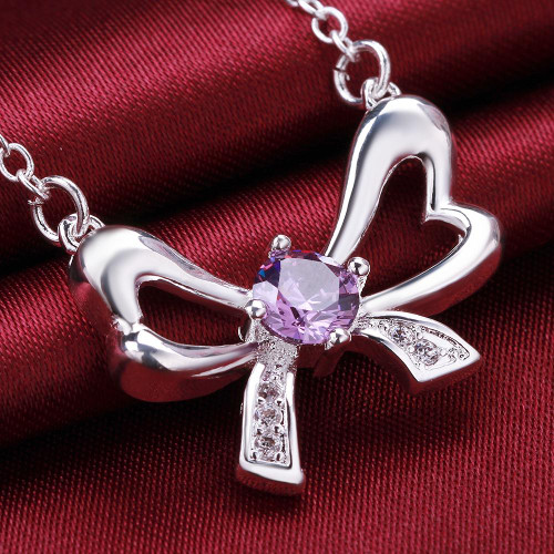 Amethyst Bow Tie Necklace in 18K White Gold Plated with Swarovski
