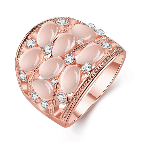 14K Rose Gold Plating Multi-Opal Cocktail Ring