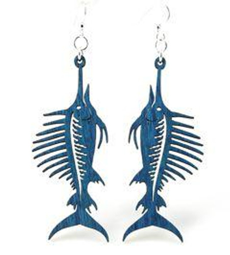 "2.6"" x 1"" Designed Blue Sword Fish Earrings"