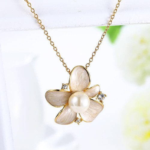 Fresh Water Pearl Drop Necklace in 18K Gold Plated with Swarovski