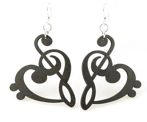 "1.8"" x 1.5"" Designed Treble Clef Heart Earrings"