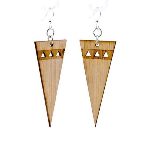0.9 x 2.1 Eco-Friendly Pointed Edge Bamboo Earrings
