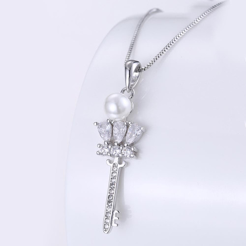 Key Necklace in 18K White Gold Plated with Swarovski Crystals