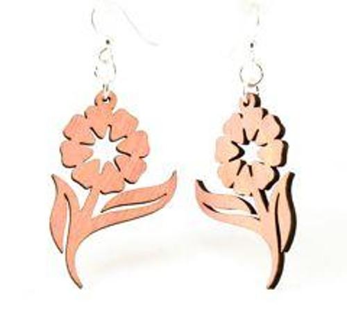 """1.6"""" x 1"""" Designed Wooden Spring Flower Earrings"""