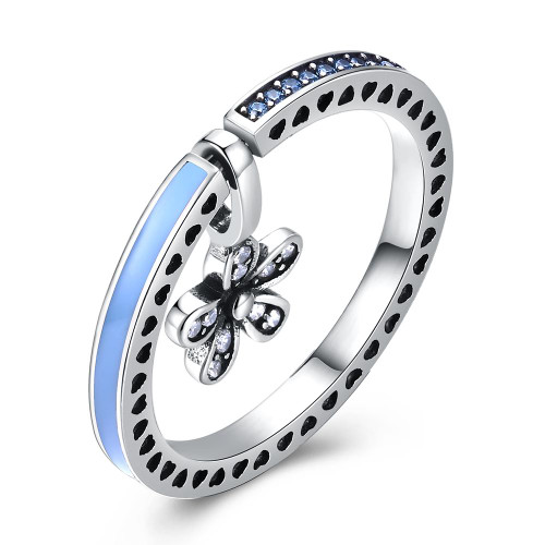 Blue Sterling Silver Ring With Flower Charm