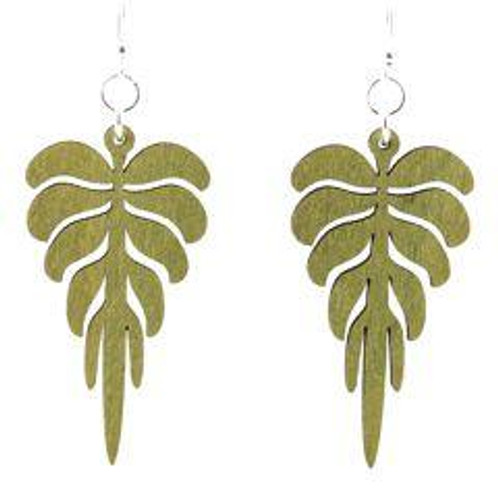 "1.8"" x 1"" Designed Apple Green Pine Leaf Earrings"