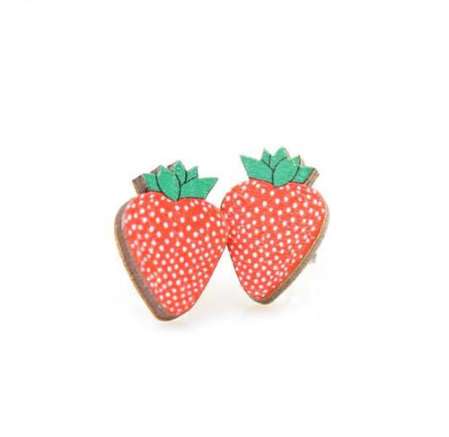 "0.5"" x 0.5"" Eco-Friendly Lightweight Strawberry Stud Earrings"