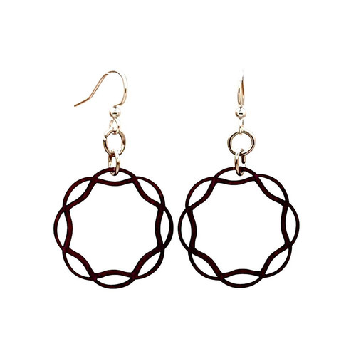 "1"" x 1"" Designed Brown Wavy Circle Earrings"