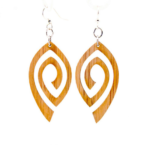 1.0 x 1.6 Eco-Fashion Yellow Spiral Eye Bamboo Earrings