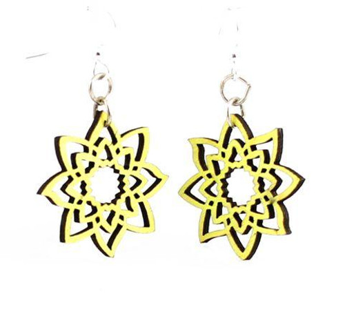 "1.0"" X 1.1"" Designed Neon Yellow Unlocking Blossoms Earrings"