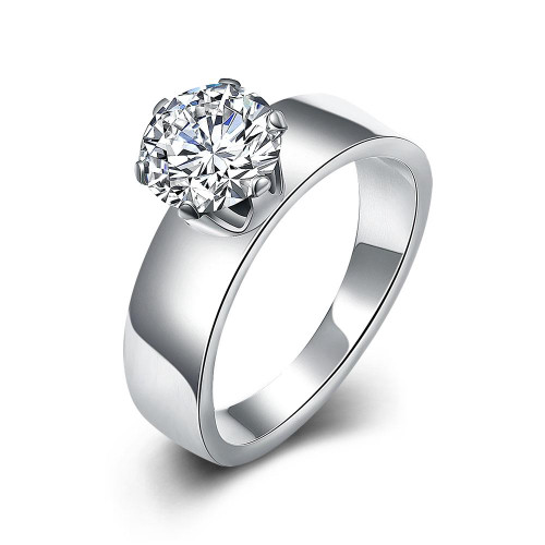 Single Solitaire Swarovski Elements Stainless Steel Ring