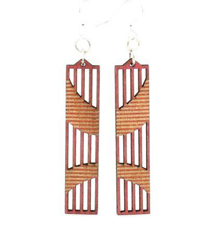 """2.1"""" x 0.5"""" Designed Cherry Red Wright Angle Earrings"""