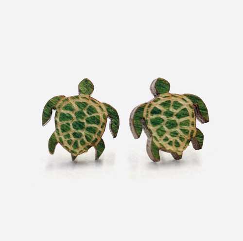 """0.5"""" x 0.5"""" Colorful & Funny Wooden Turtle Stud Earrings"""