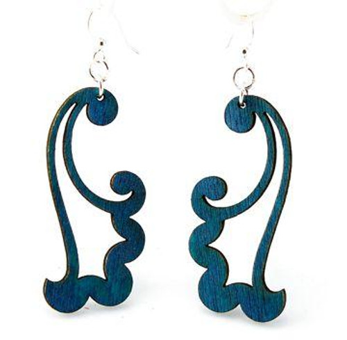 "2"" x 0.9"" Designed Royal Blue Wind Blowing Earrings"