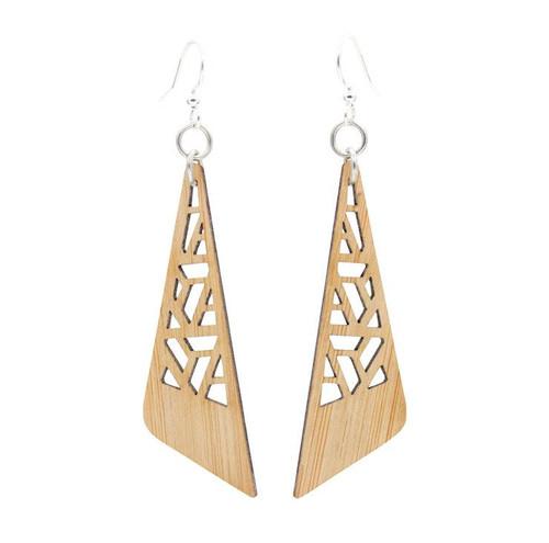 "0.7"" x 2.0"" Eco-Friendly Zetangle Bamboo Earrings"