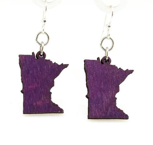 """0.75"""" x 0.96"""" Lightweight Purple Minnesota State Earrings"""